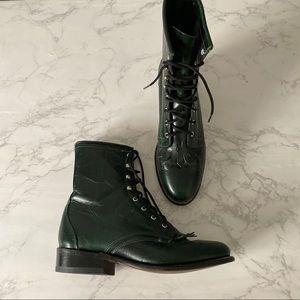 Laredo 7.5 Lace Up Western Boot Green Leather Kilt